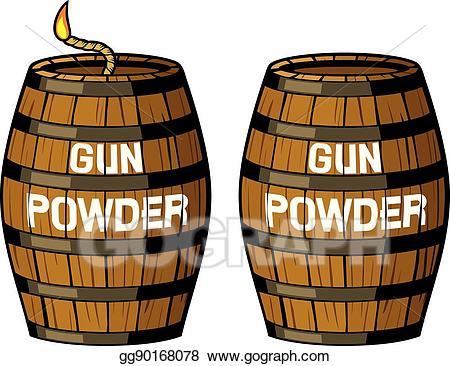 Barrel clipart cannon. Vector gun powder illustration