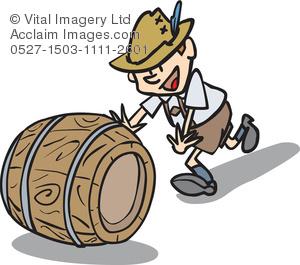 Illustration of a man. Barrel clipart cartoon