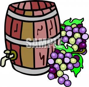 Grapes near a of. Barrel clipart cartoon