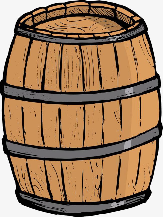 Hand painted wooden barrels. Barrel clipart cartoon