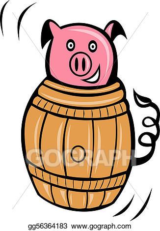 Barrel clipart cartoon. Stock illustration pig pork