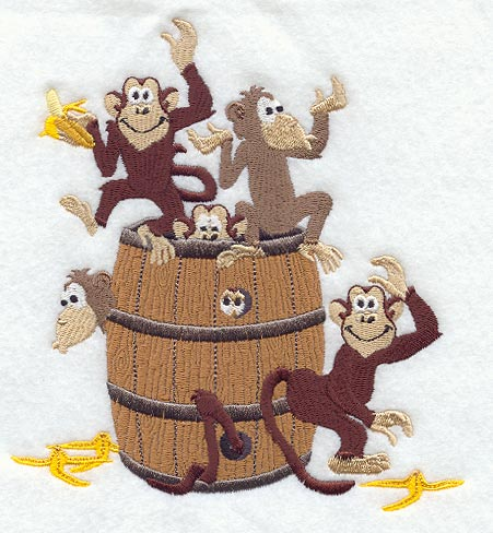 Barrel clipart monkeys. Machine embroidery designs at