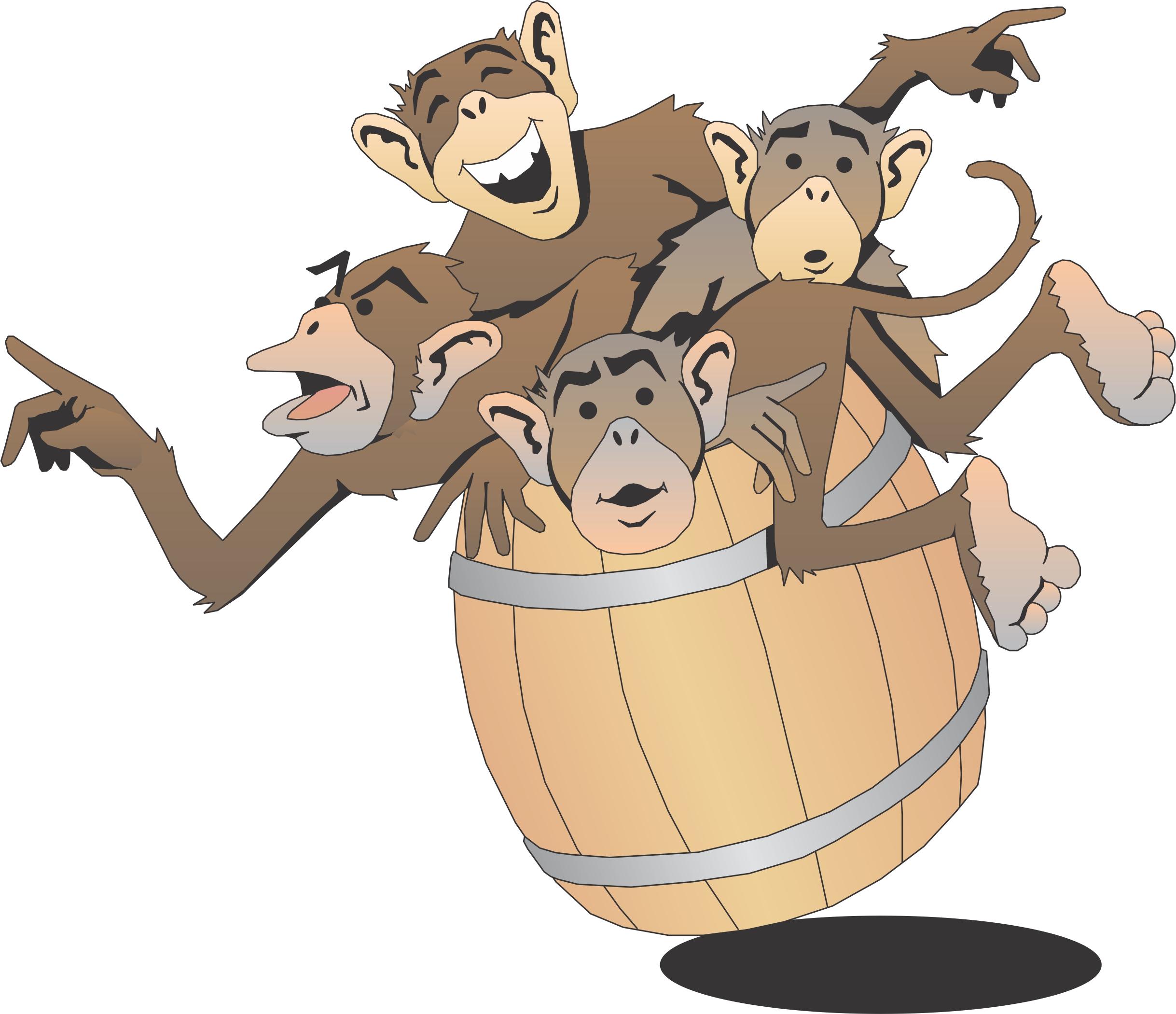 Cartoon in a spiritual. Barrel clipart monkeys
