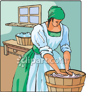 Laundress washing clothes in. Barrel clipart old fashioned