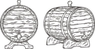 Barrel clipart old fashioned. Wood hand drawn stock