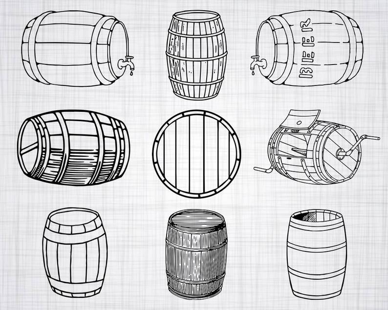 Barrel clipart vector. Svg bundle wood cut