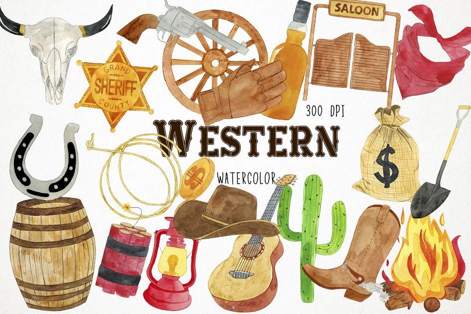 Watercolor western clip art. Cowboy clipart westernclip