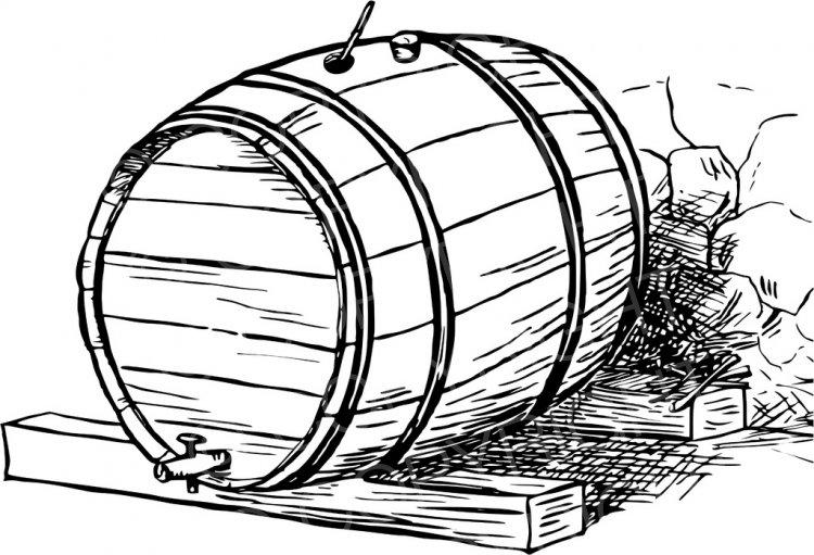 Beer clipart retro. Wooden barrel drawing at