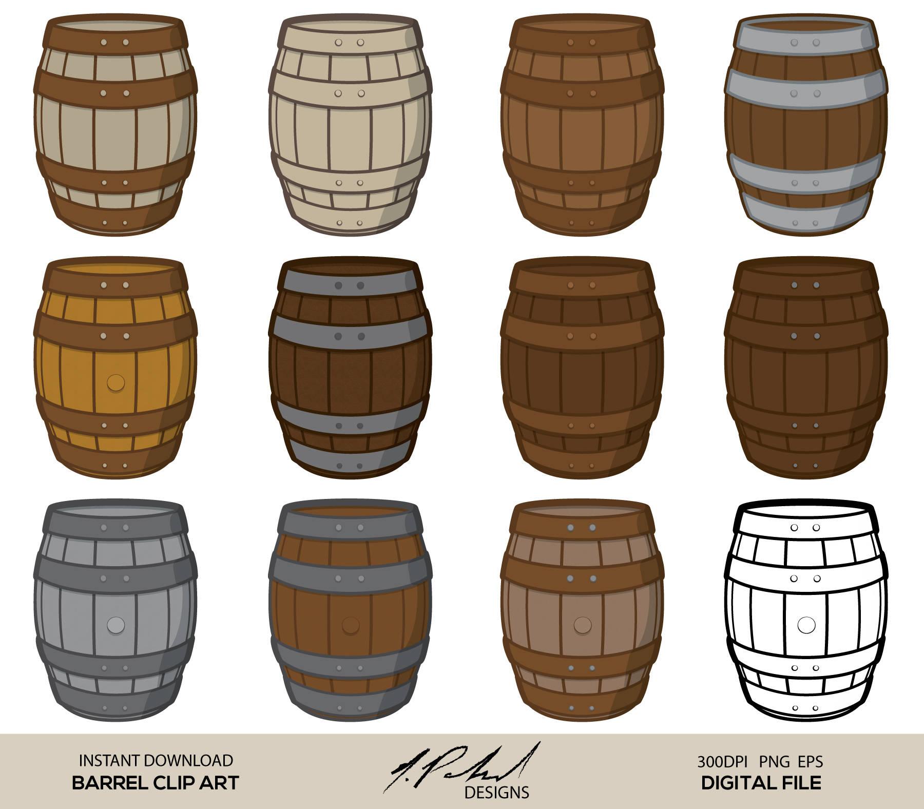Barrel clipart wood barrel. Digital clip art file