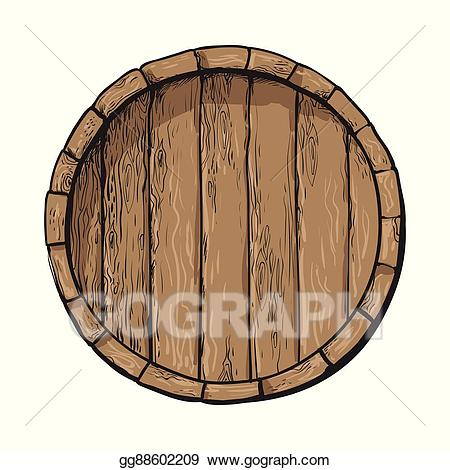 Vector art top view. Barrel clipart wooden barrel
