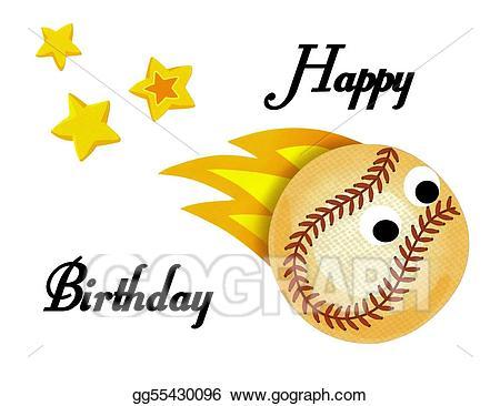 Stock illustration ball stars. Clipart baseball birthday