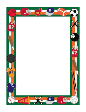 Baseball clipart boarder. This sport border includes