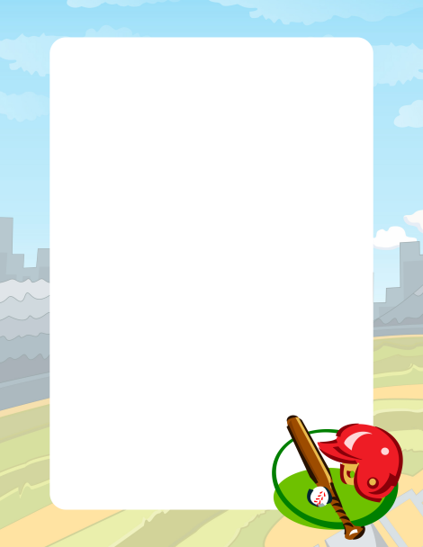 Page with diamond and. Baseball clipart border