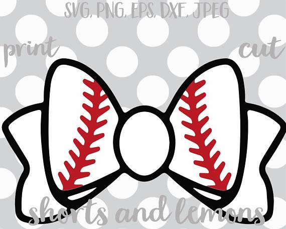 Bows clipart baseball. Svg bow decal cut