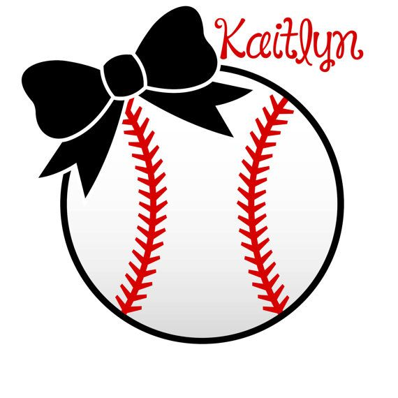 Softball clipart bow. With decal personalized by