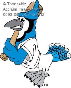 Baseball clipart cartoon. Blue jay playing