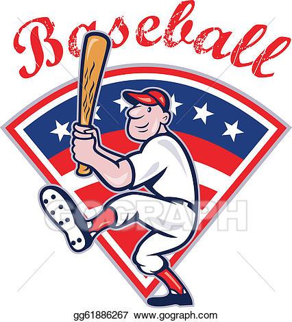 Baseball clipart cartoon. Vector art american player