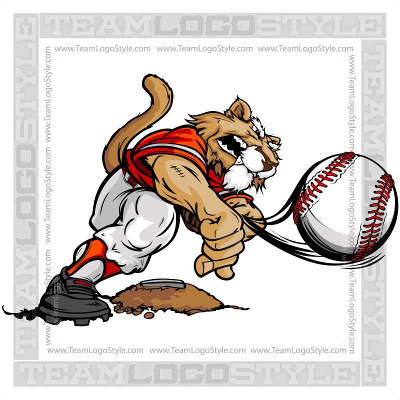 Baseball clipart cartoon. Cougar vector