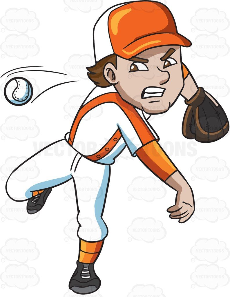 A player pitching ball. Baseball clipart cartoon