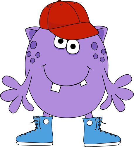 Monster wearing sneakers and. Baseball clipart cute