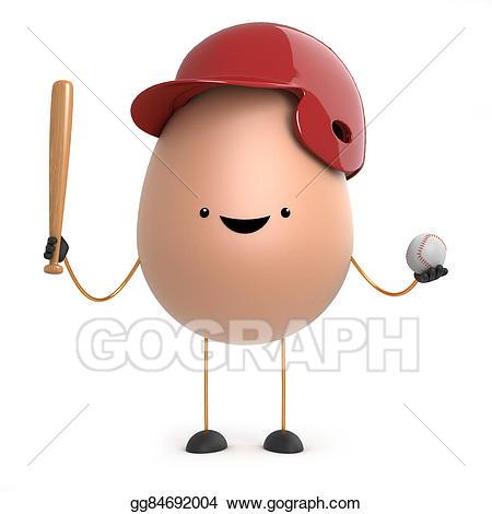 Stock illustration d toy. Baseball clipart cute