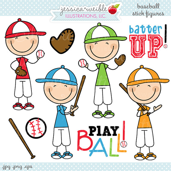 Baseball clipart cute. Boy stick figures digital