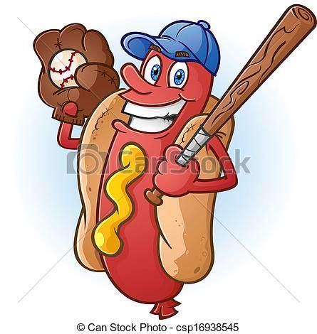 Baseball clipart icon. Vector hot dog cartoon