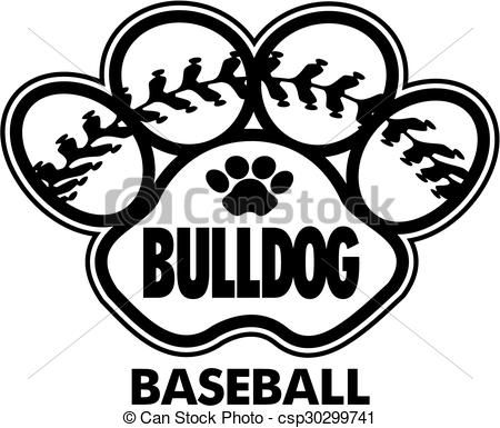 Baseball clipart icon. Vector bulldog stock illustration
