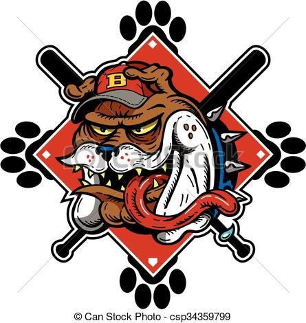 Vector bulldog stock illustration. Baseball clipart icon