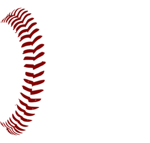 Red softball laces clip. Baseball clipart lace
