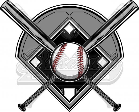 Diamond bats image with. Baseball clipart logo