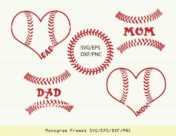 Svg mom decor . Baseball clipart monogram