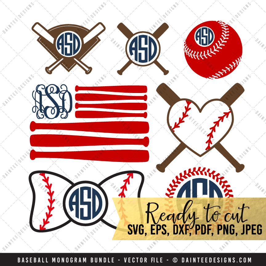 Set svg dxf eps. Baseball clipart monogram