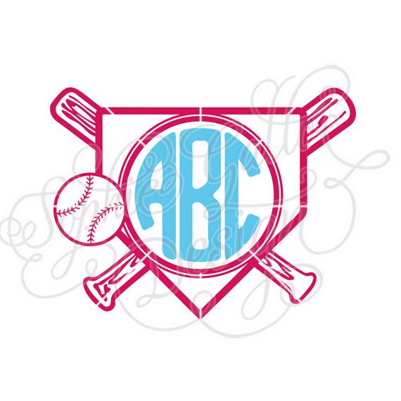 Home plate svg dxf. Baseball clipart monogram