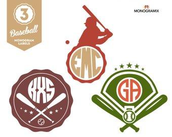 Baseball clipart monogram. Etsy labels vector circle