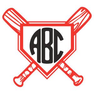 Silhouette design store view. Baseball clipart monogram
