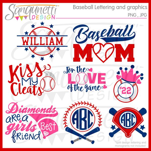 Baseball clipart monogram. Lettering and monograms