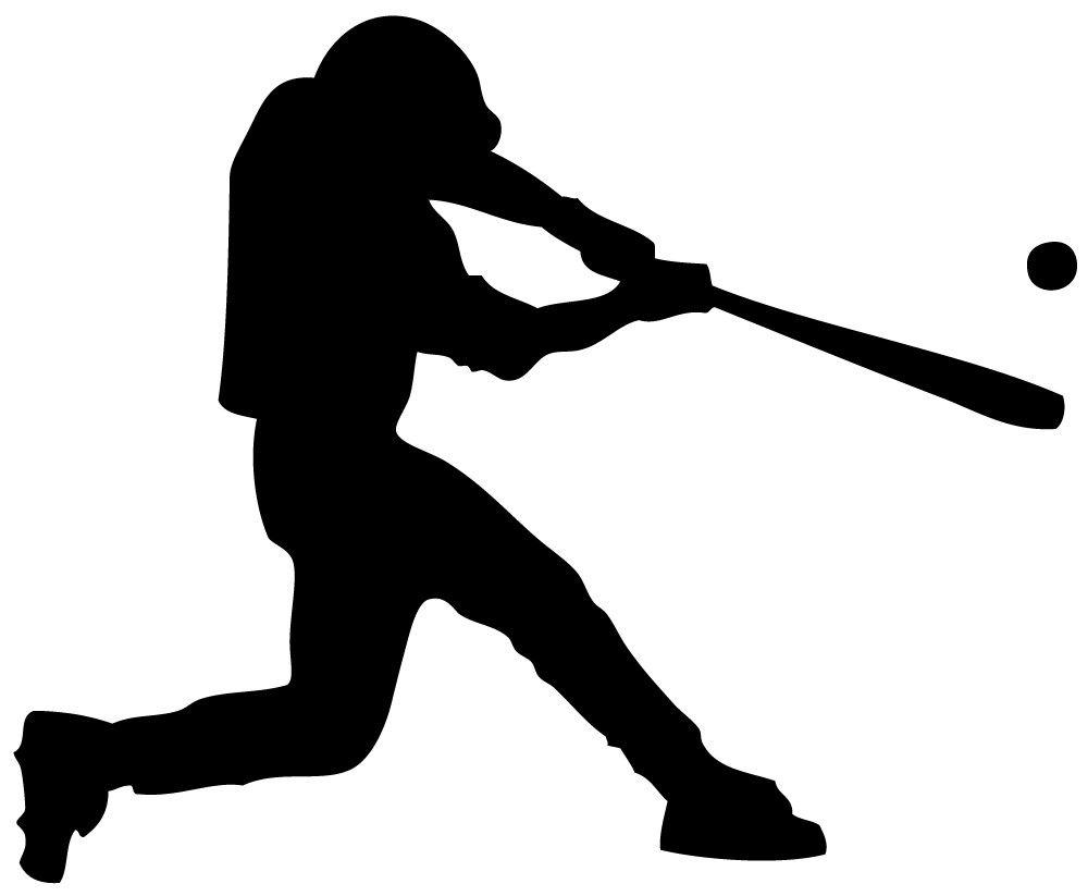 Baseball clipart silhouette. Swinging player clip art