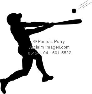 Clip art image ofa. Baseball clipart silhouette