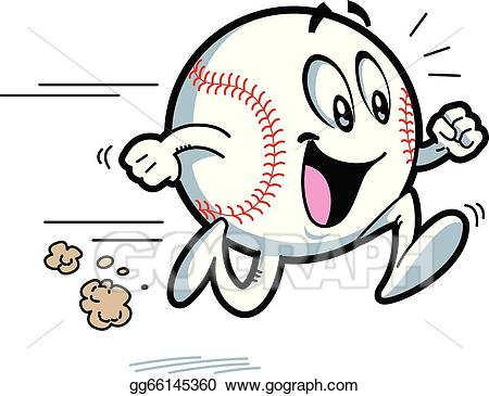 Vector happy running illustration. Baseball clipart smiley face