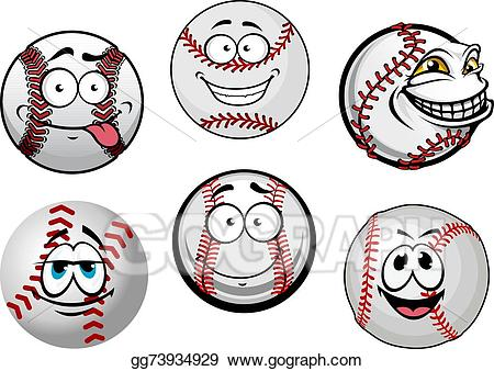 Baseball clipart smiley face. Vector illustration smiling balls
