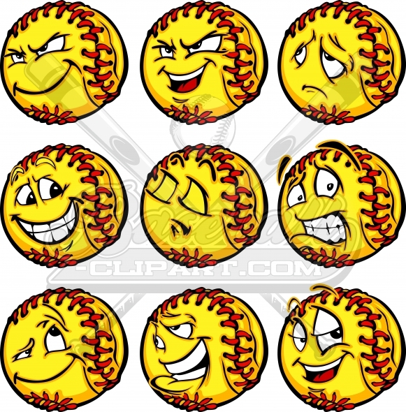 Softball sad joyful scared. Baseball clipart smiley face