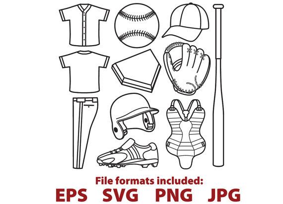 Digital svg clip art. Baseball clipart vector