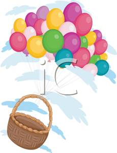 A floating with colorful. Basket clipart balloon