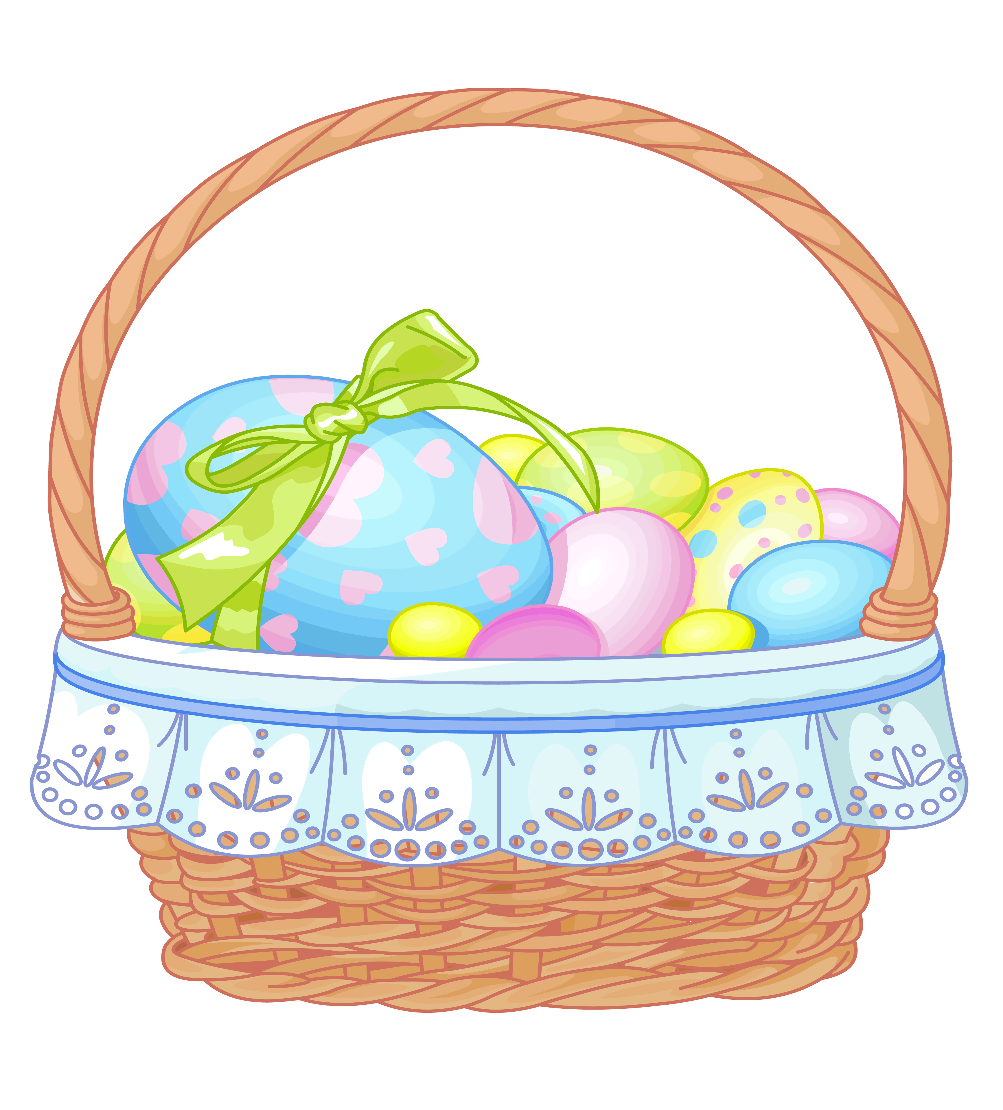 Gift clipart full basket. Easter with eggs transparent