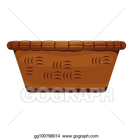 Basket clipart brown basket. Vector empty wooden illustration