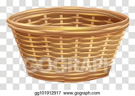 Basket clipart brown basket. Vector art empty wicker