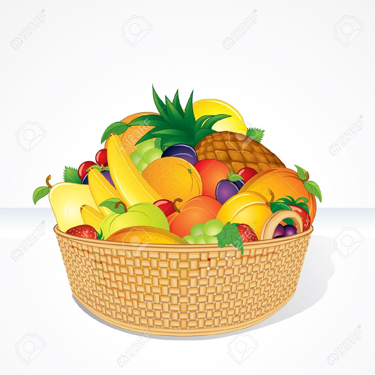 Orange fruit pencil and. Basket clipart cartoon