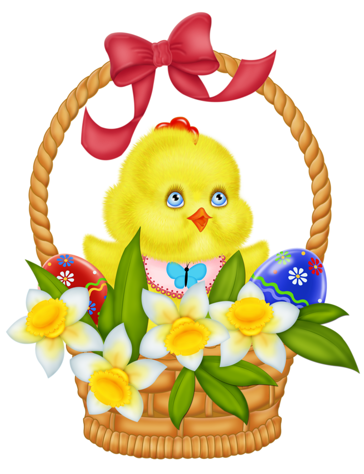 Clipart easter daffodil. Basket with eggs chicken