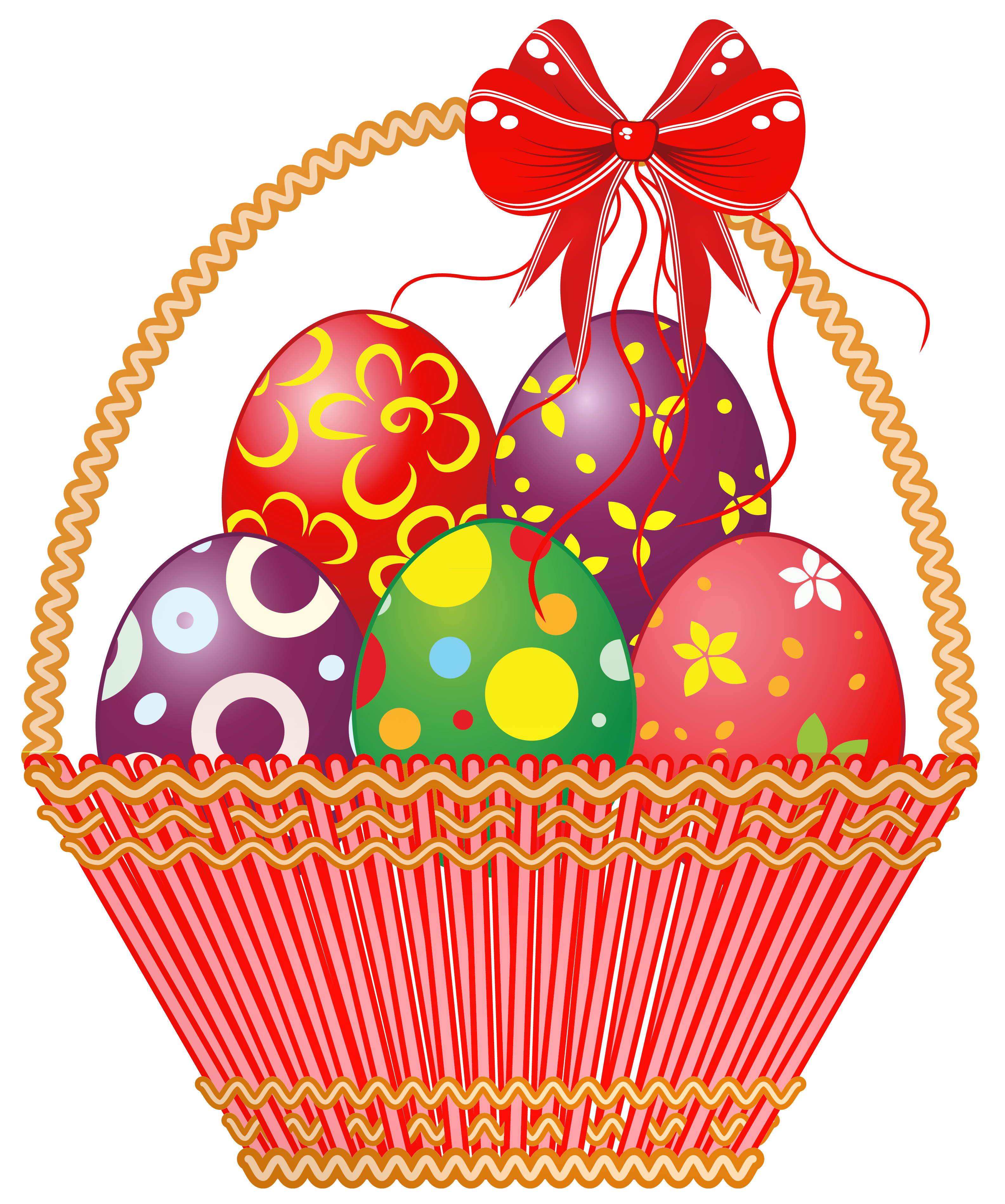 Clipart trees easter egg. Red basket with eggs